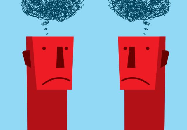 ilustracion cerebros, personas confundidas